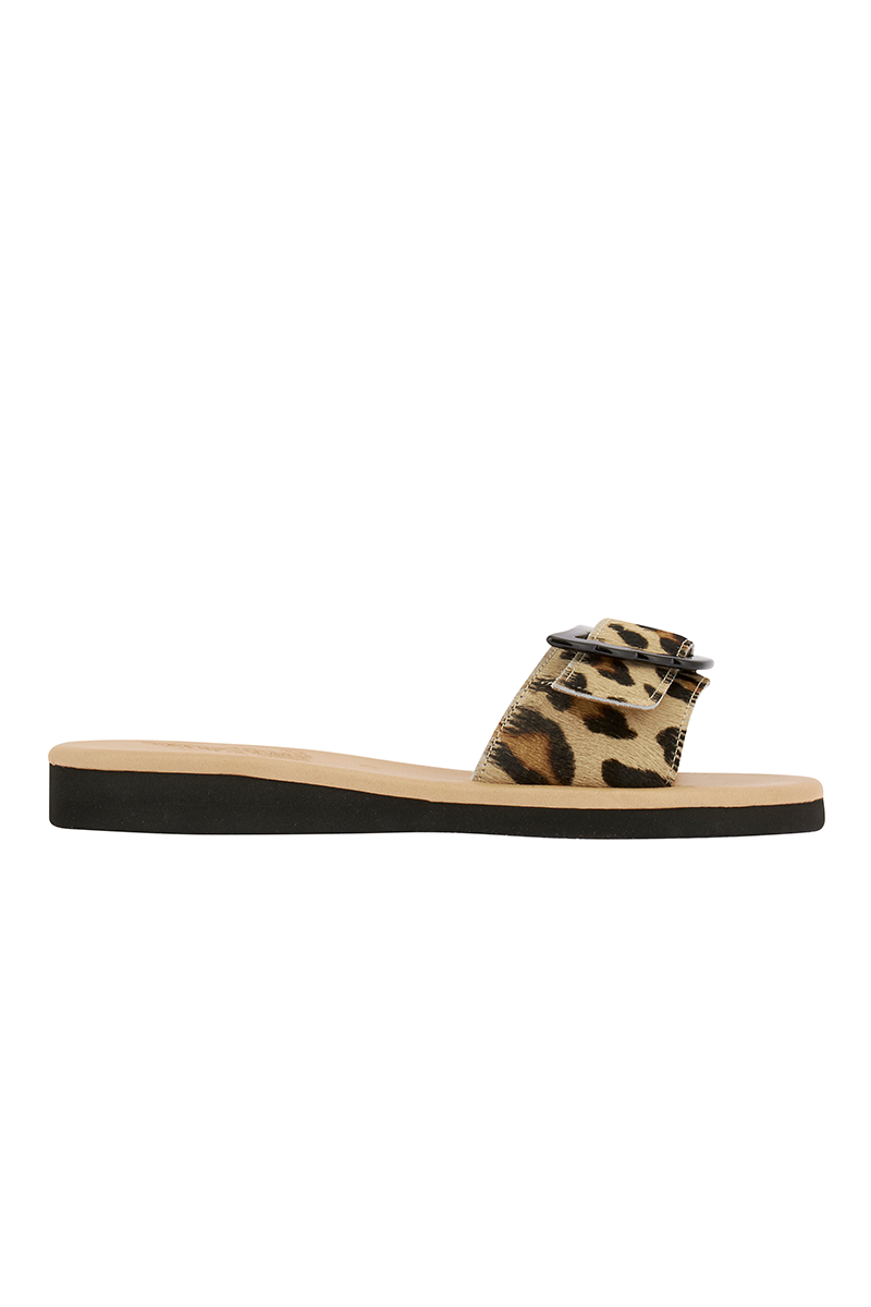 Aglaia Pony Slip On Sandals in Leopard