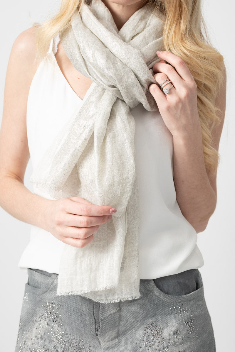 Linen Scarf with Lamination in Canna di Fucile