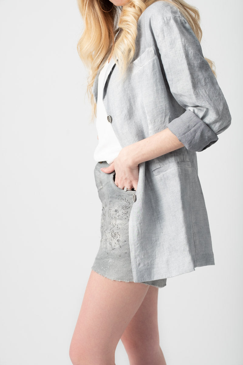 Long Rever Linen Jacket in Hemp Marmo