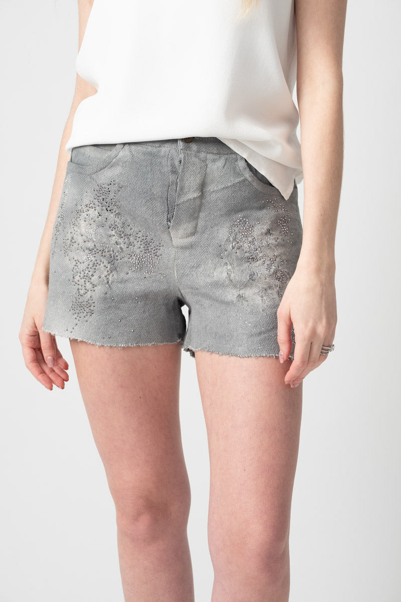 Stitch Linen Shorts with Destruction and Studs in Marmo