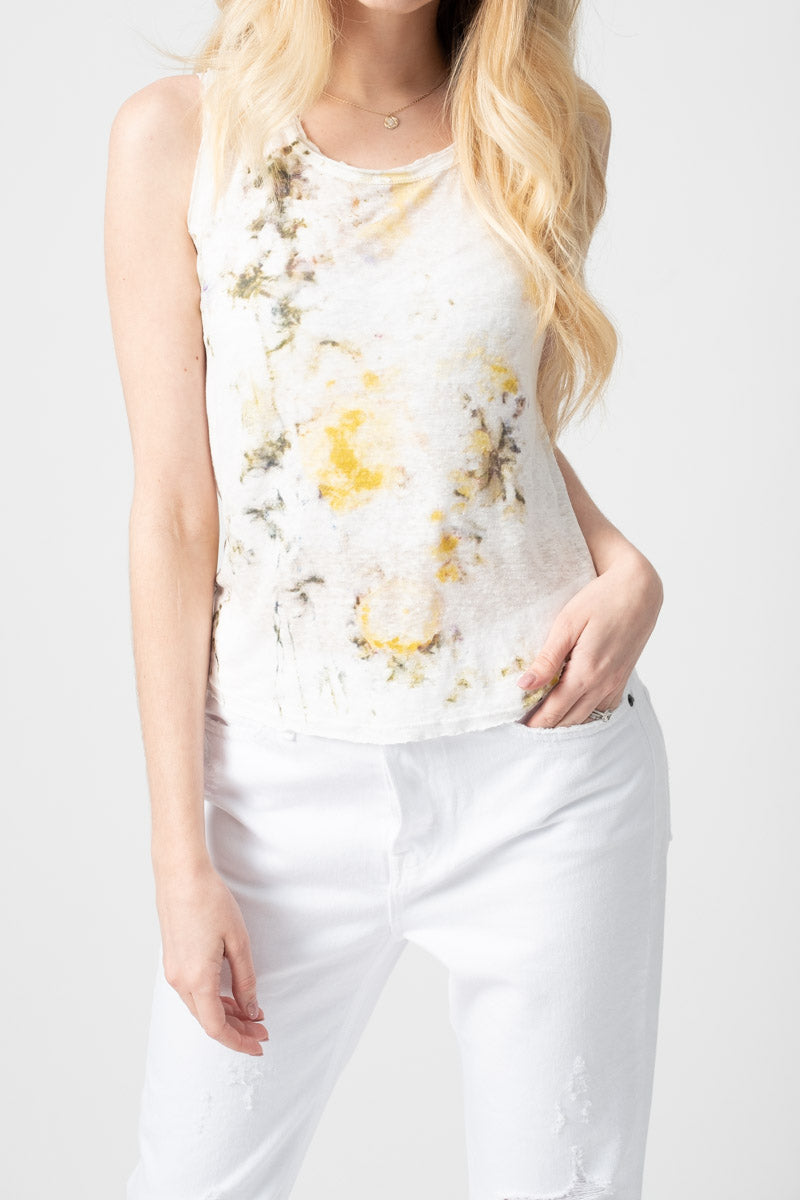 Reversible Round Neck Top with Flowery Field Print in Pop Corn