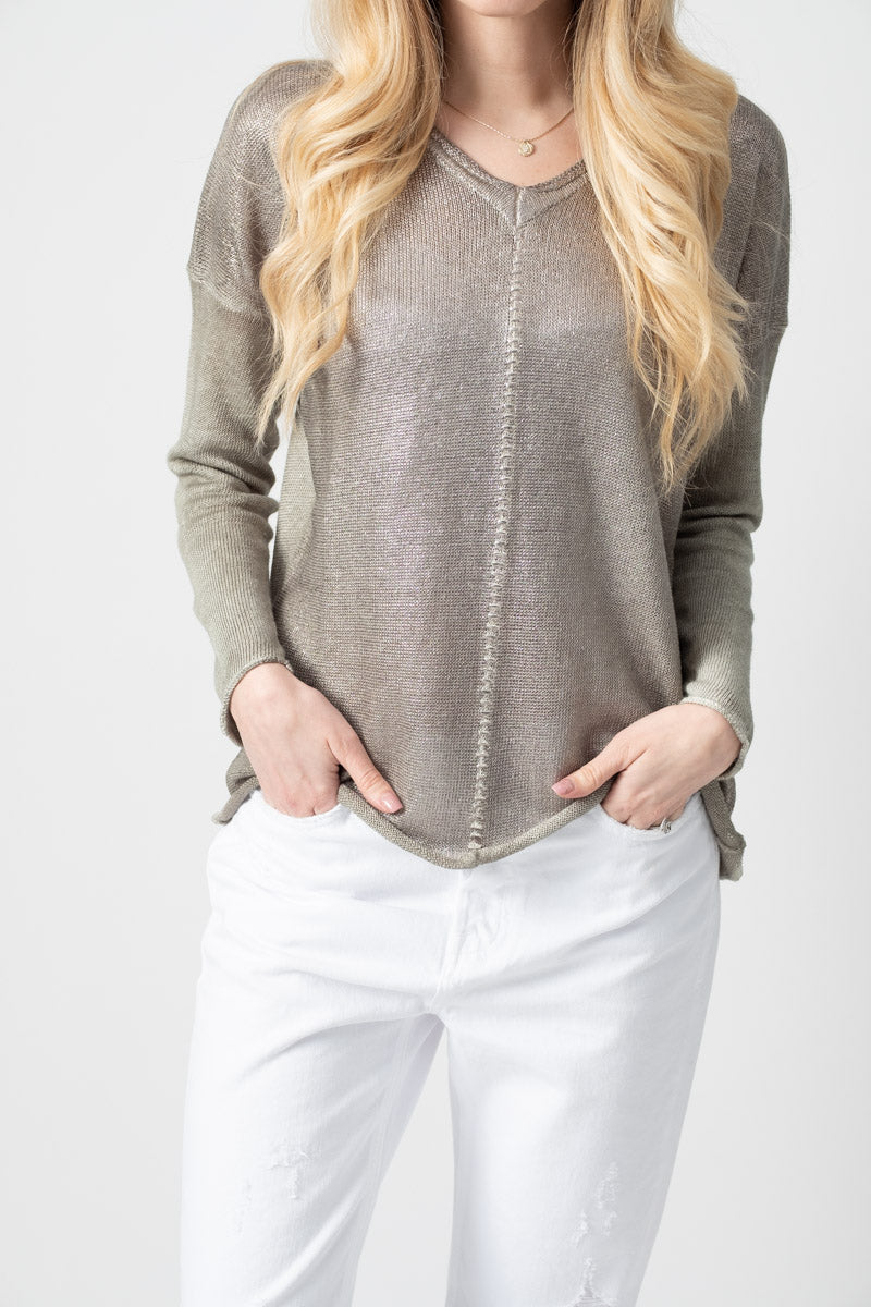 V-Neck Linen Pullover with Lamination in Salice