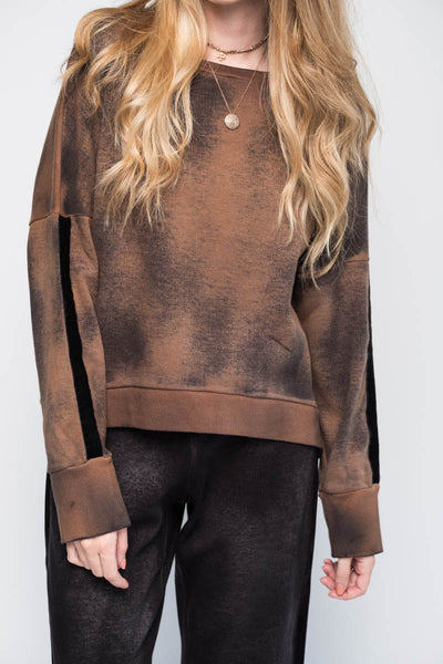 Caramel Sweatshirt with Velvet Details
