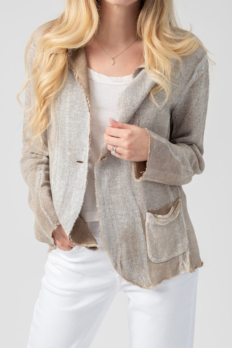 Corda Linen Blazer Jacket with White Lamination