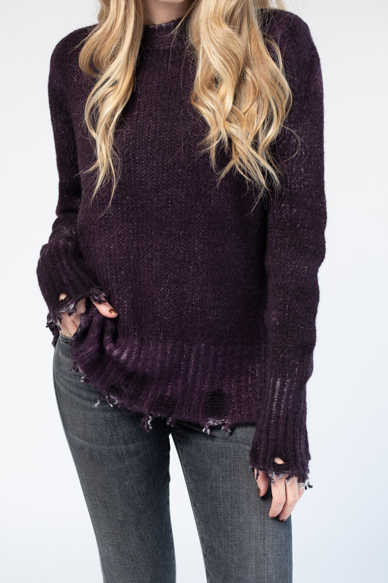 Distressed Knit Pullover in Berry
