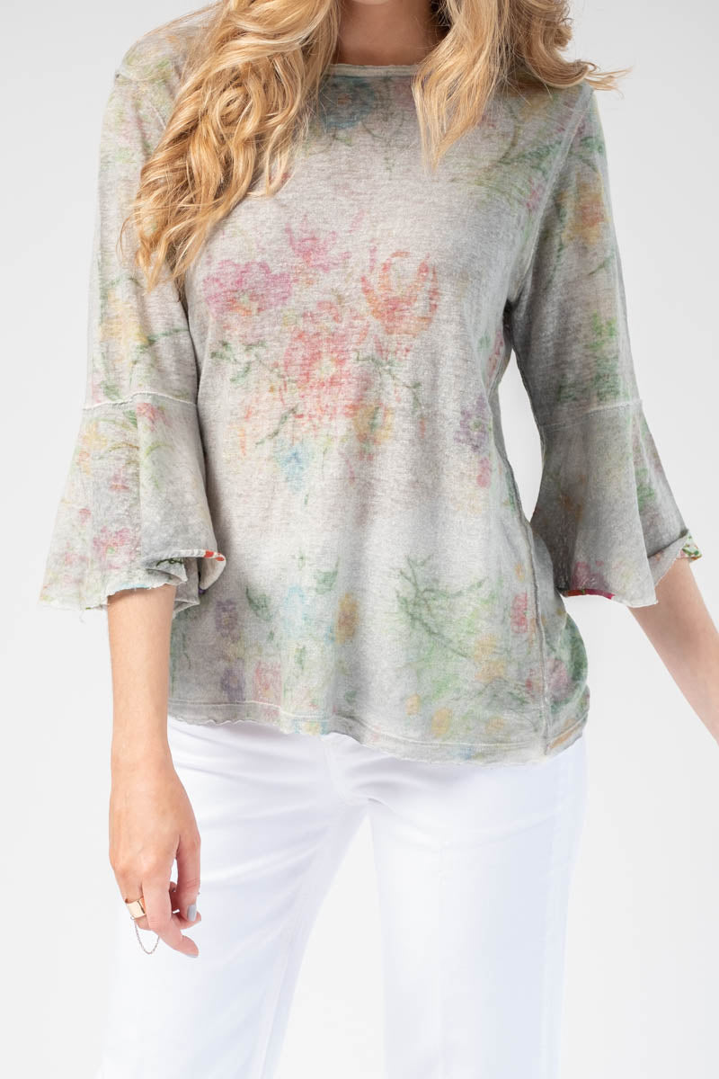 Floral Ruffled Sleeve Linen Top