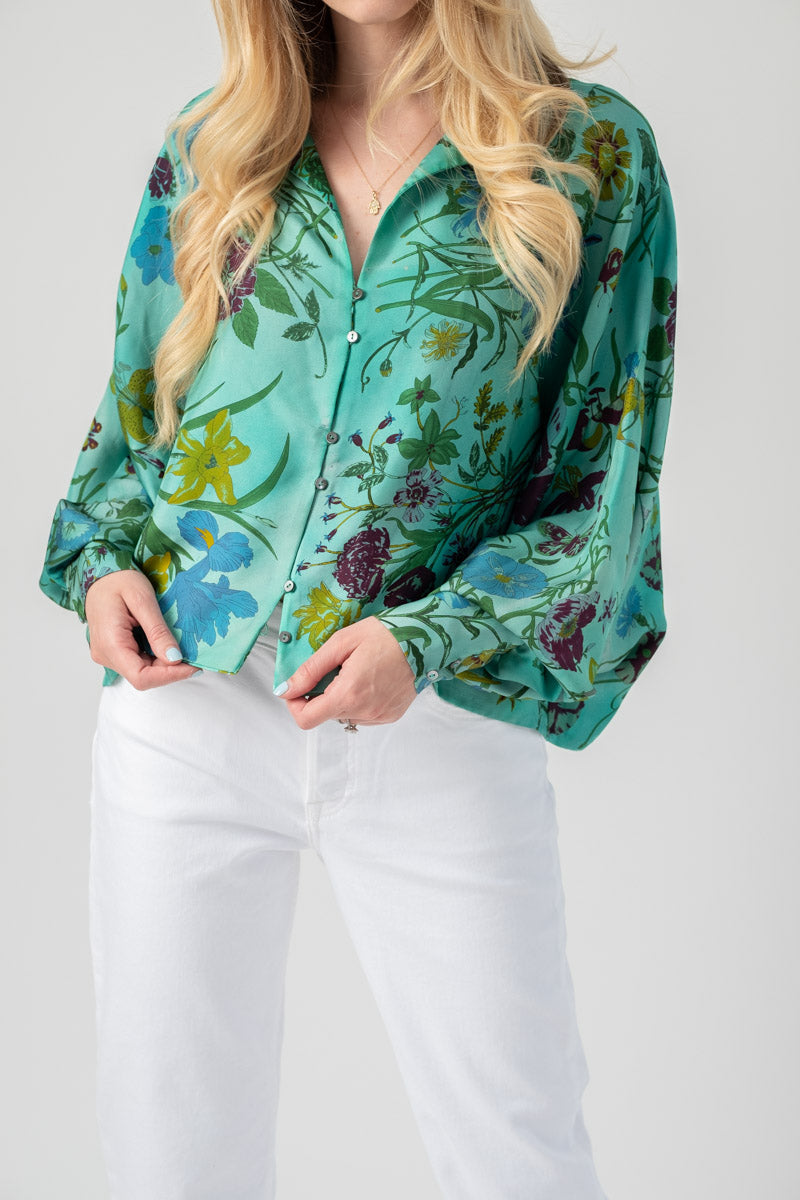 Hand-Painted Silk Top with Foulard Fiori in Smeraldo