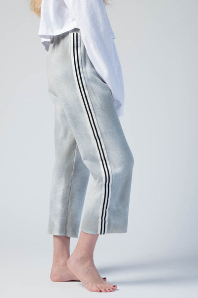 Knitted Trousers with Stripe Detail