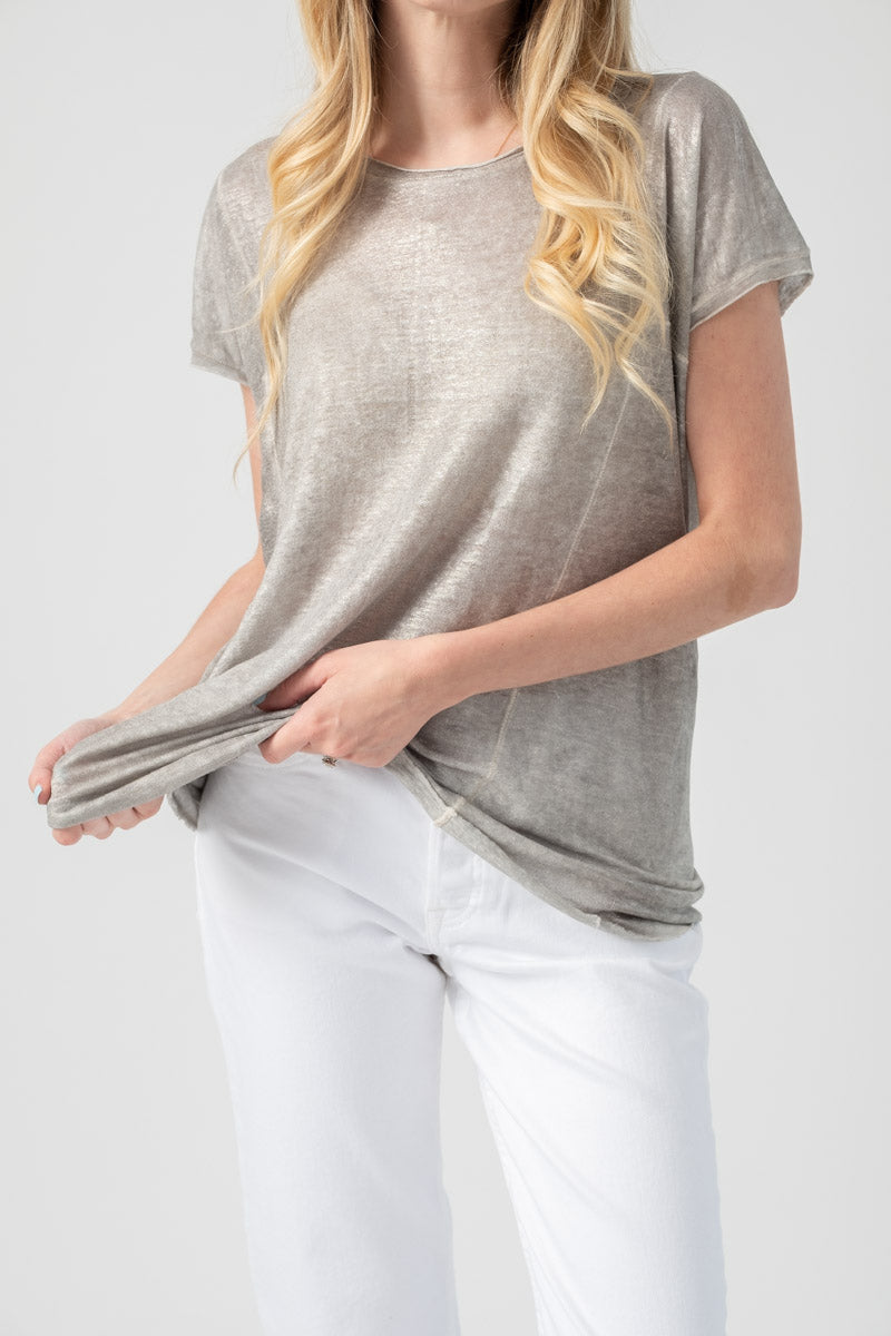 Linen Short Sleeve Top in Delfino Lamination