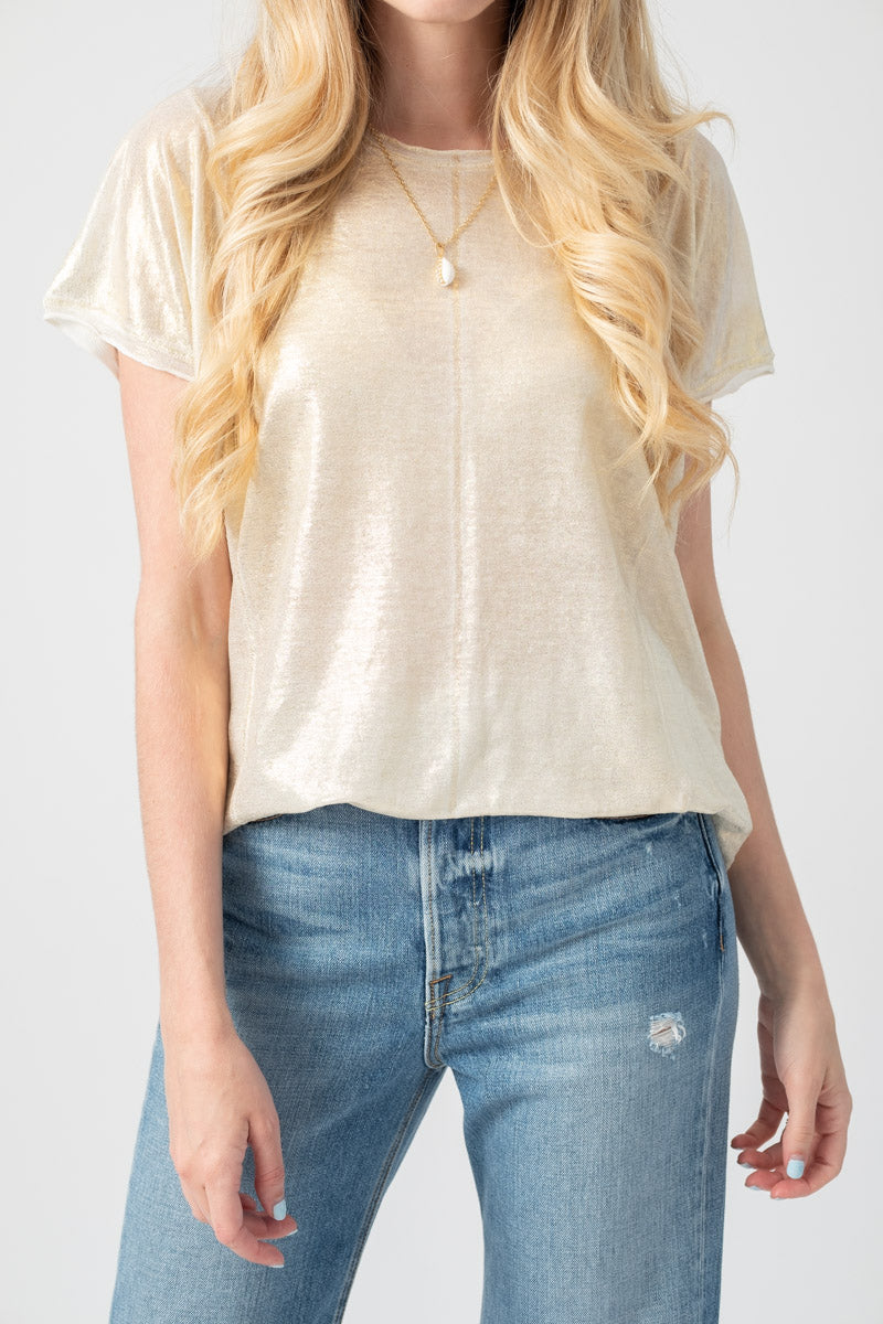 Linen Short Sleeve Top in Gold Lamination