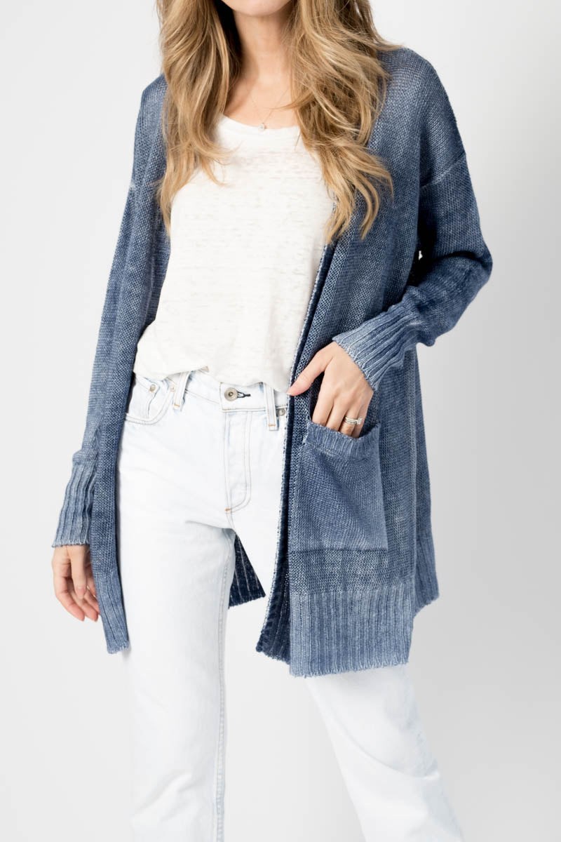 Long Linen Cardigan with Ribbed Edges in Denim