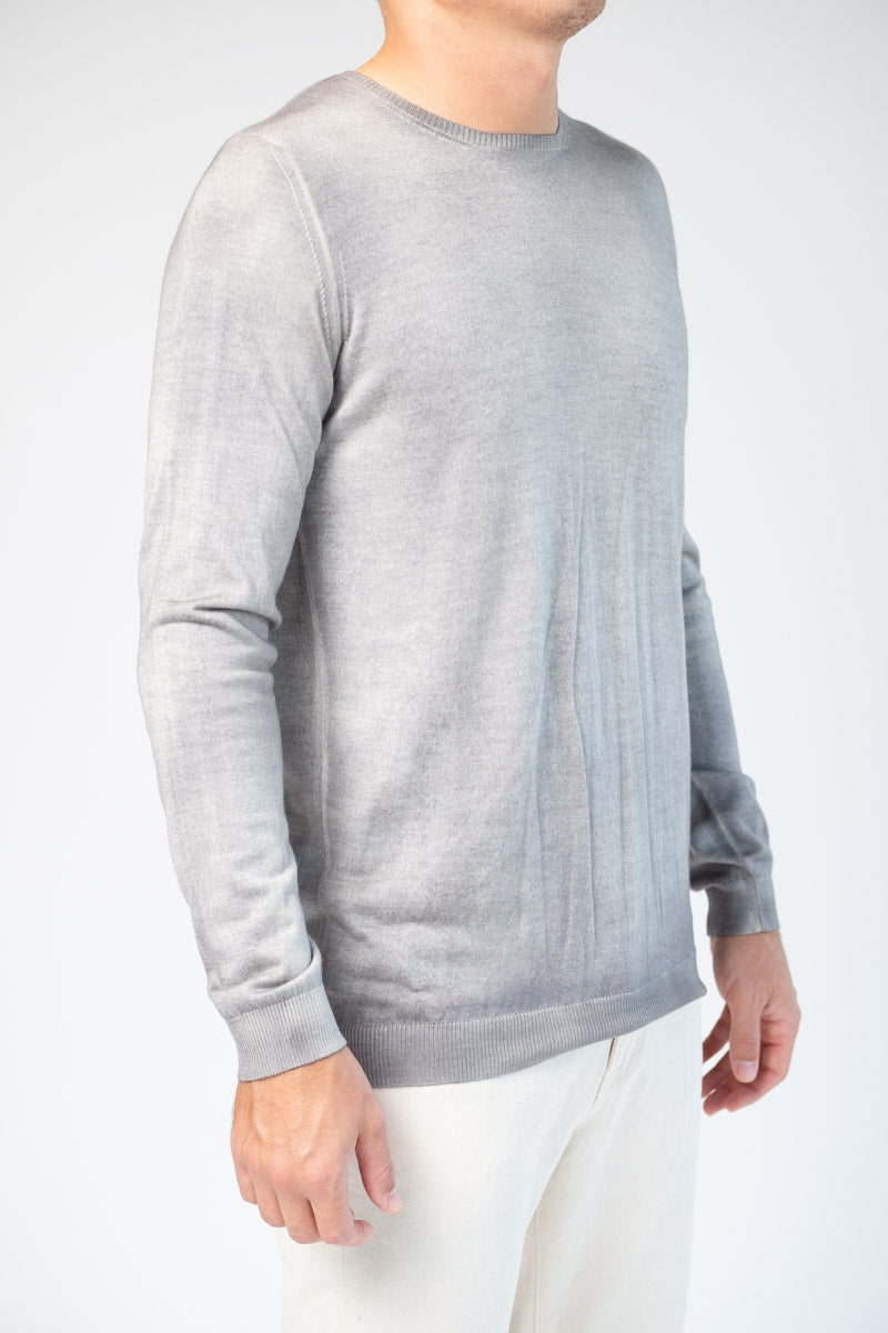 Cashmere Silk Knit Pullover in Ice