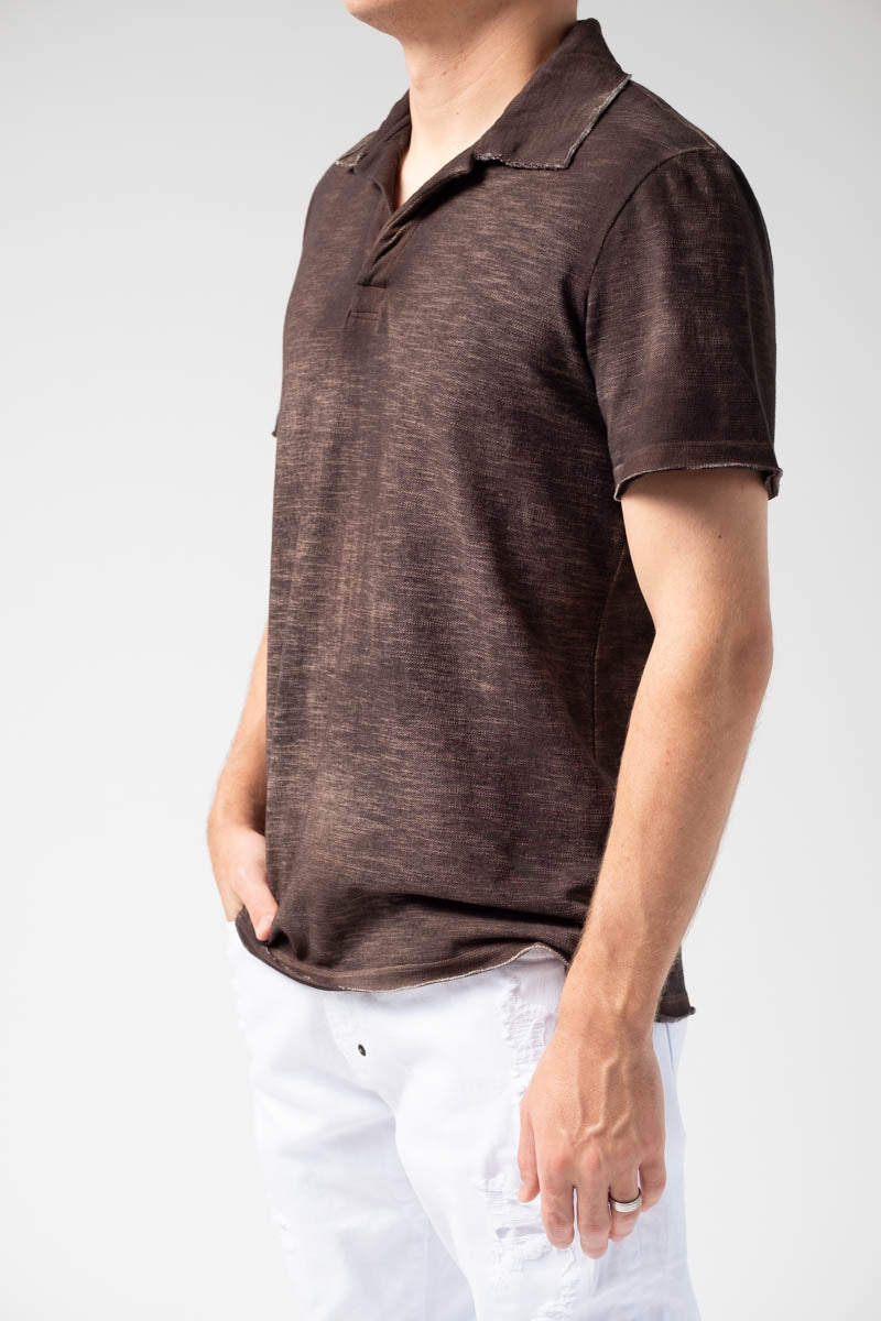 Cotton Polo in Brown