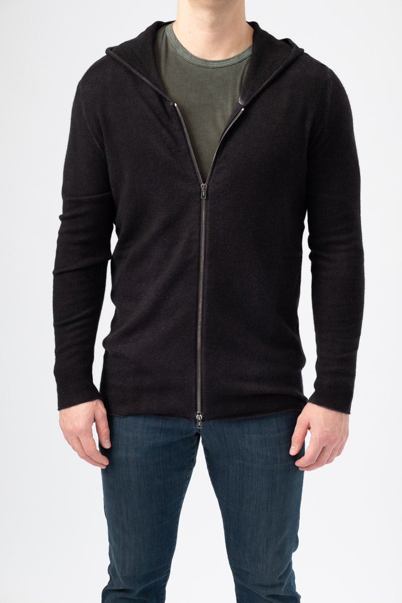 Men's Long Zip-Up Hoodie in Nero