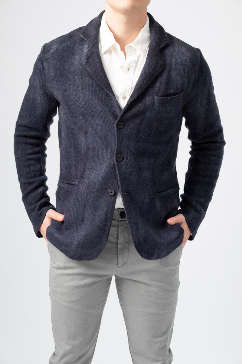 Men's Knitted Wool Blazer in Navy Blue