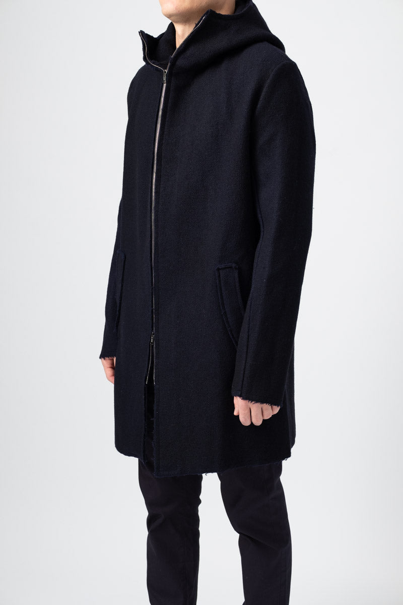 Men's Knitted Wool Coat in Navy Blue