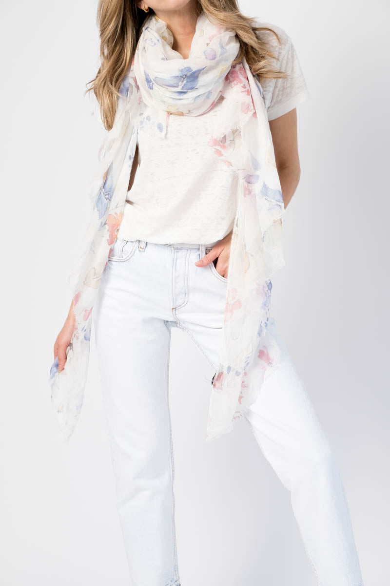Modal Scarf with Flower Print in Bianco
