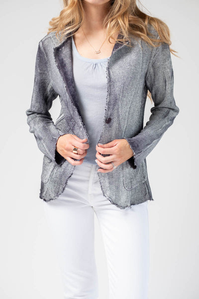 Navy Linen Blazer with White Lamination