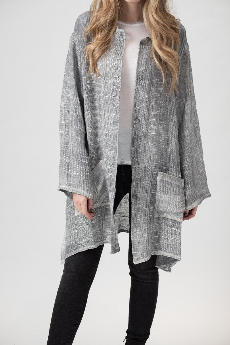 Oversized Net Button Up Shirt in Marmo