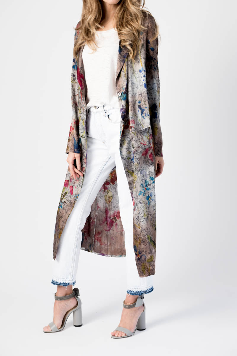 Rever Silk Duster Coat With Flower Print in Greige