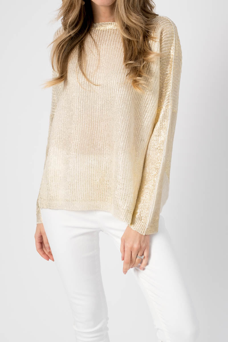 Ribbed Boat Neck Sweater with Lamination in Oro