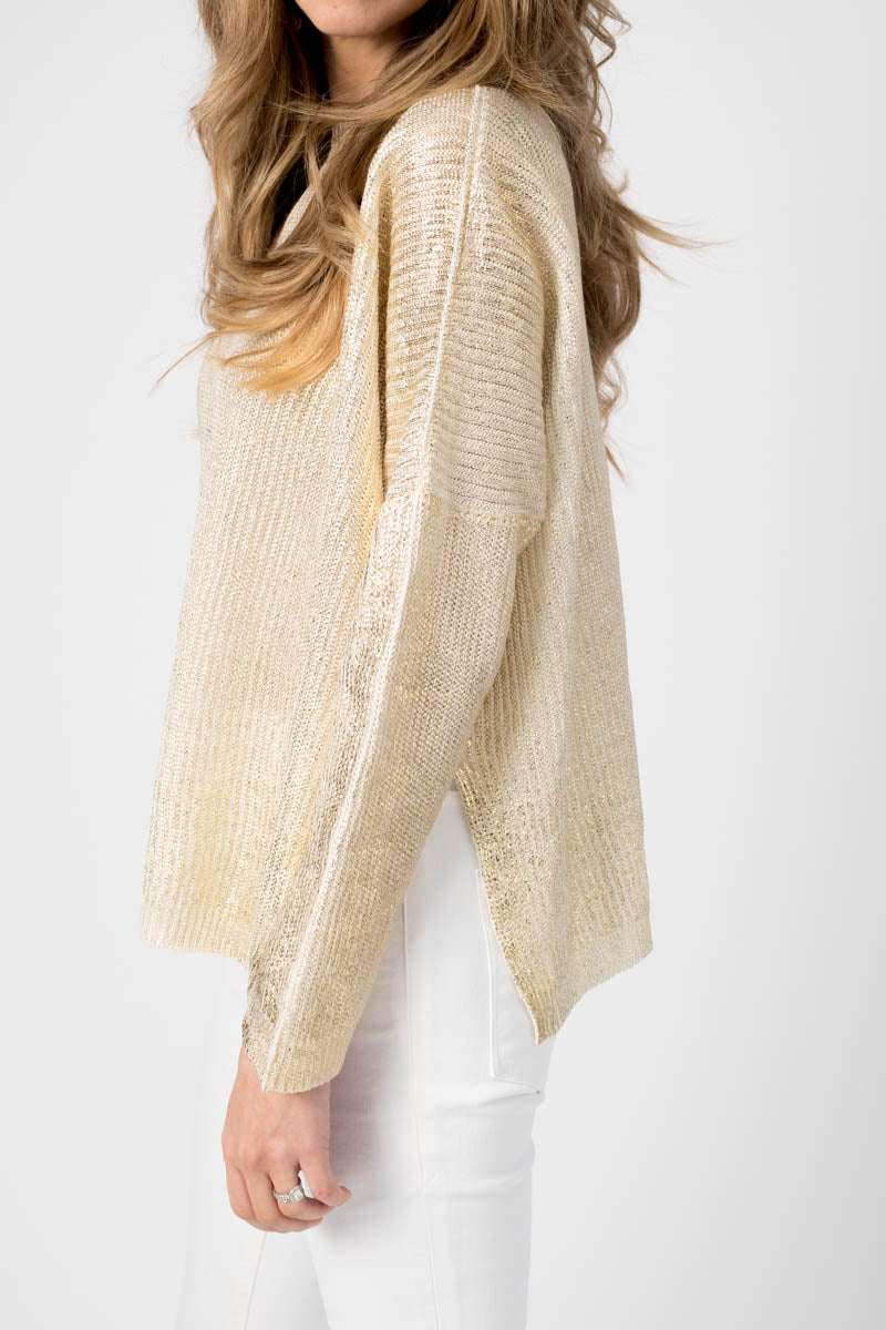 Ribbed Boat Neck Pullover with Lamination in Oro