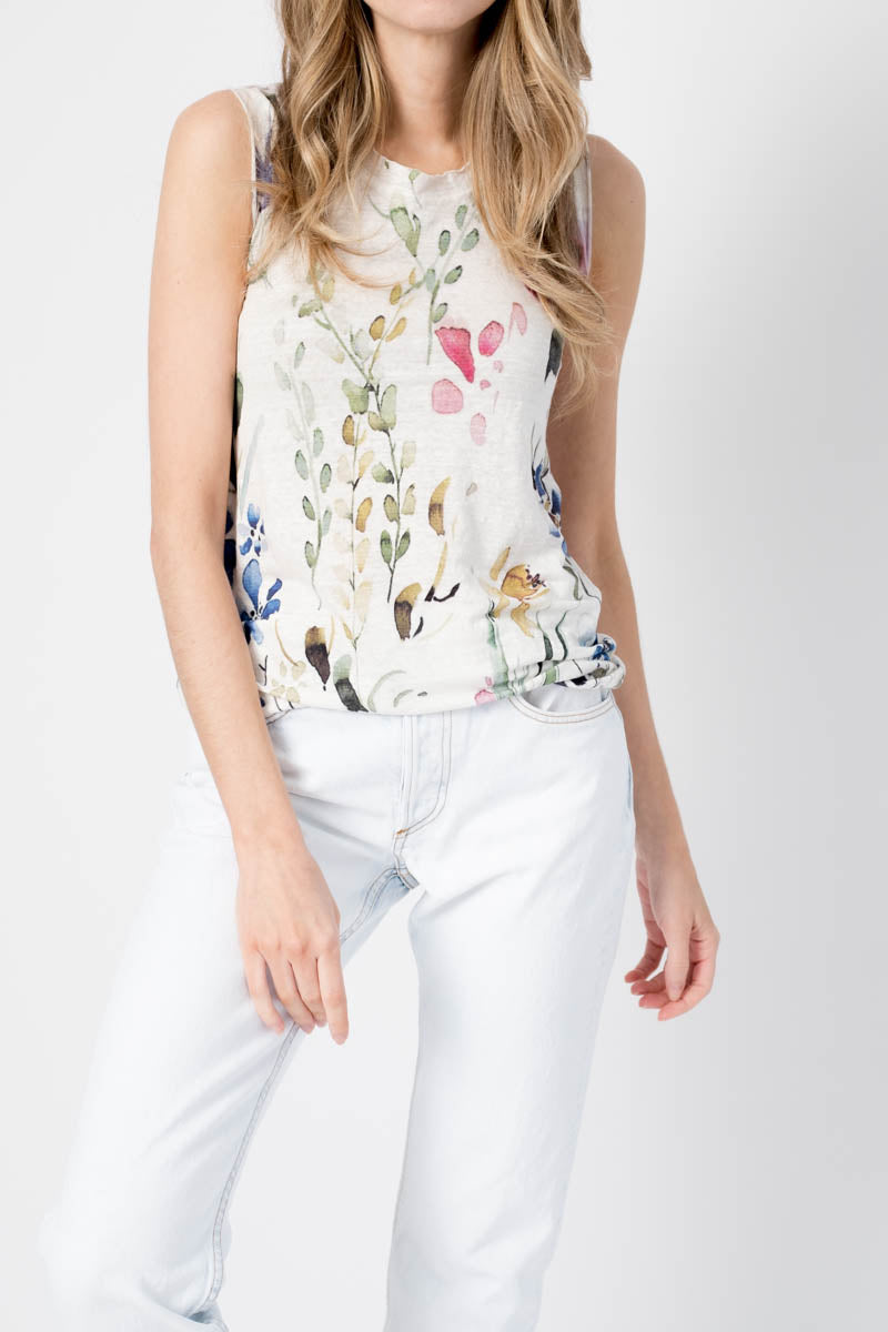 Linen Sleeveless Top with Flower Print in Bianco