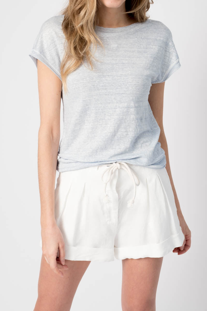 Round Neck Linen Tee in Chambray