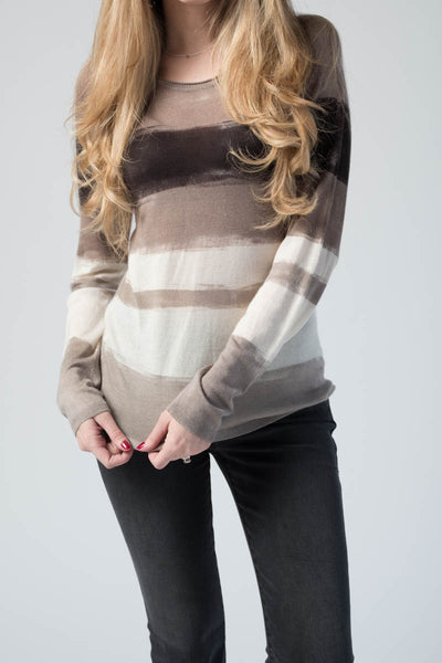 Striped Cashmere Silk Pullover