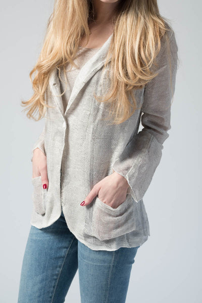 Linen Net Jacket with Metallic Lamination