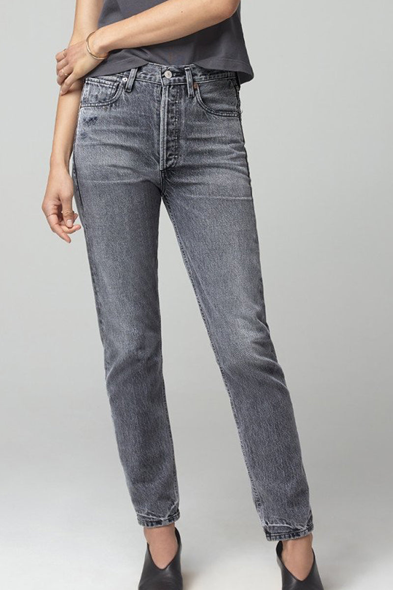 Charlotte High Rise Straight Jeans in Grayscale