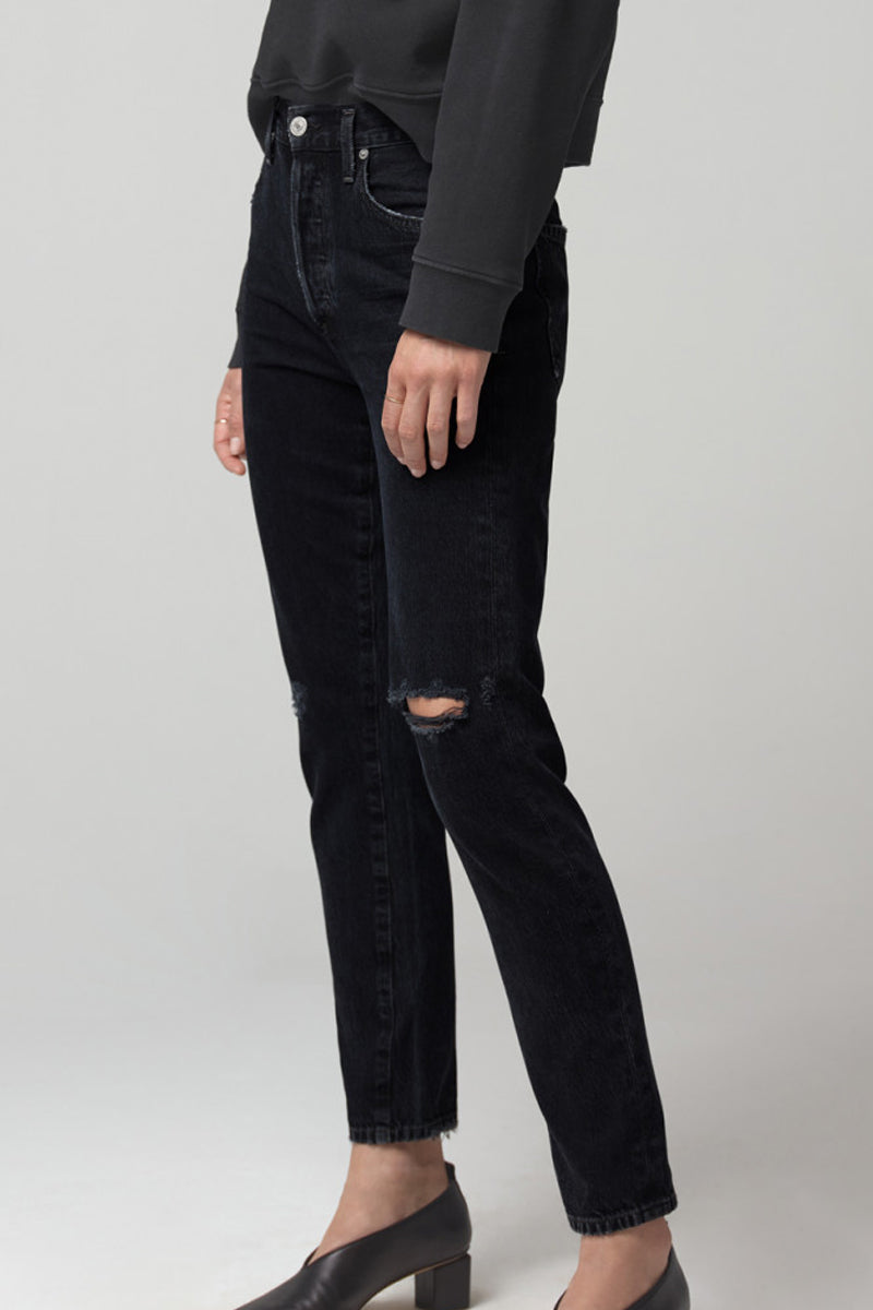 Liya High Rise Classic Fit Jean in Dark Horse