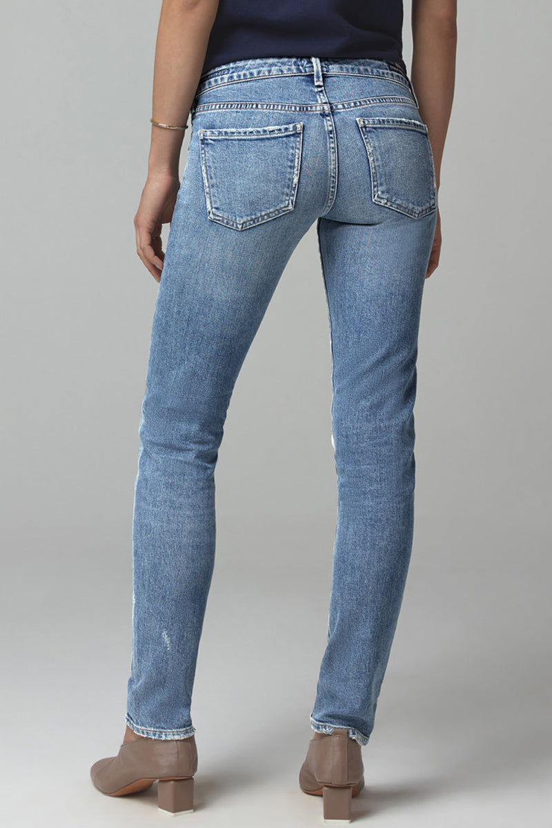 Racer Low Rise Slim Jeans in Distressed Encore