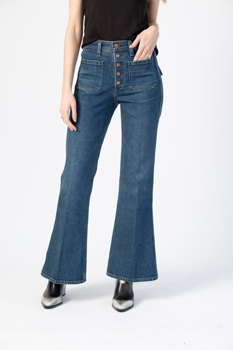 Maisie Patch Pocket Flare Jeans in Zenith