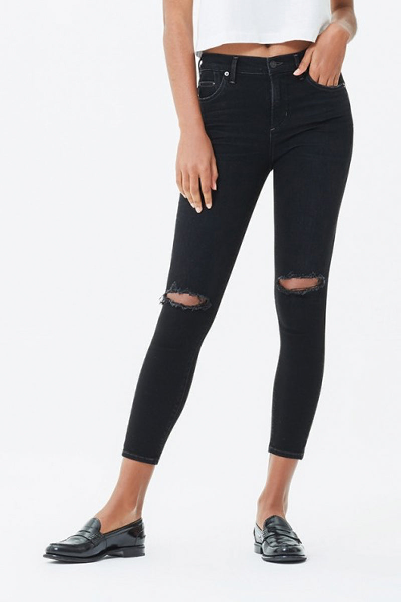 Rocket Crop High Rise Skinny in Siren