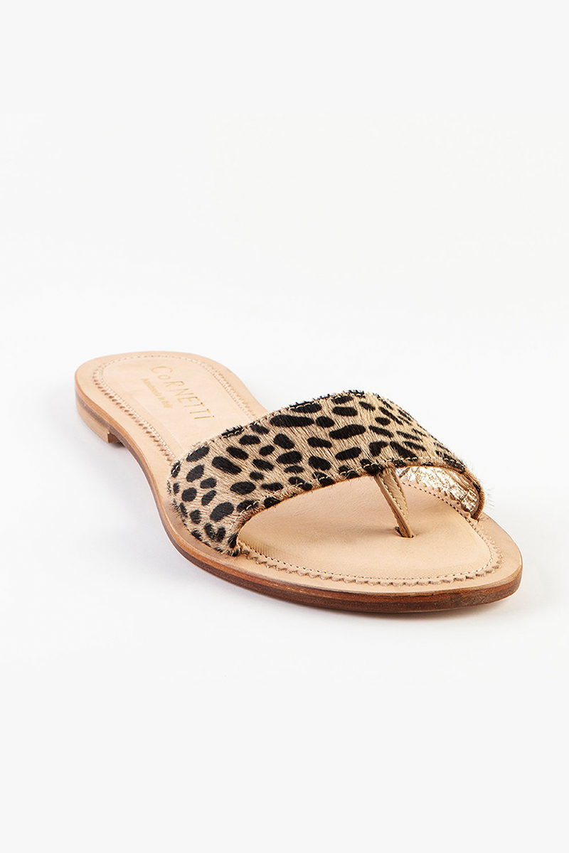 Cannucce Leather Slip On Sandals in Cheetah Print