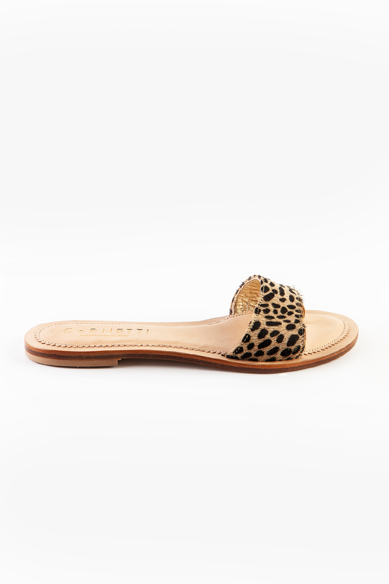 Cannucce Leather Slip On Slides in Cheetah Print