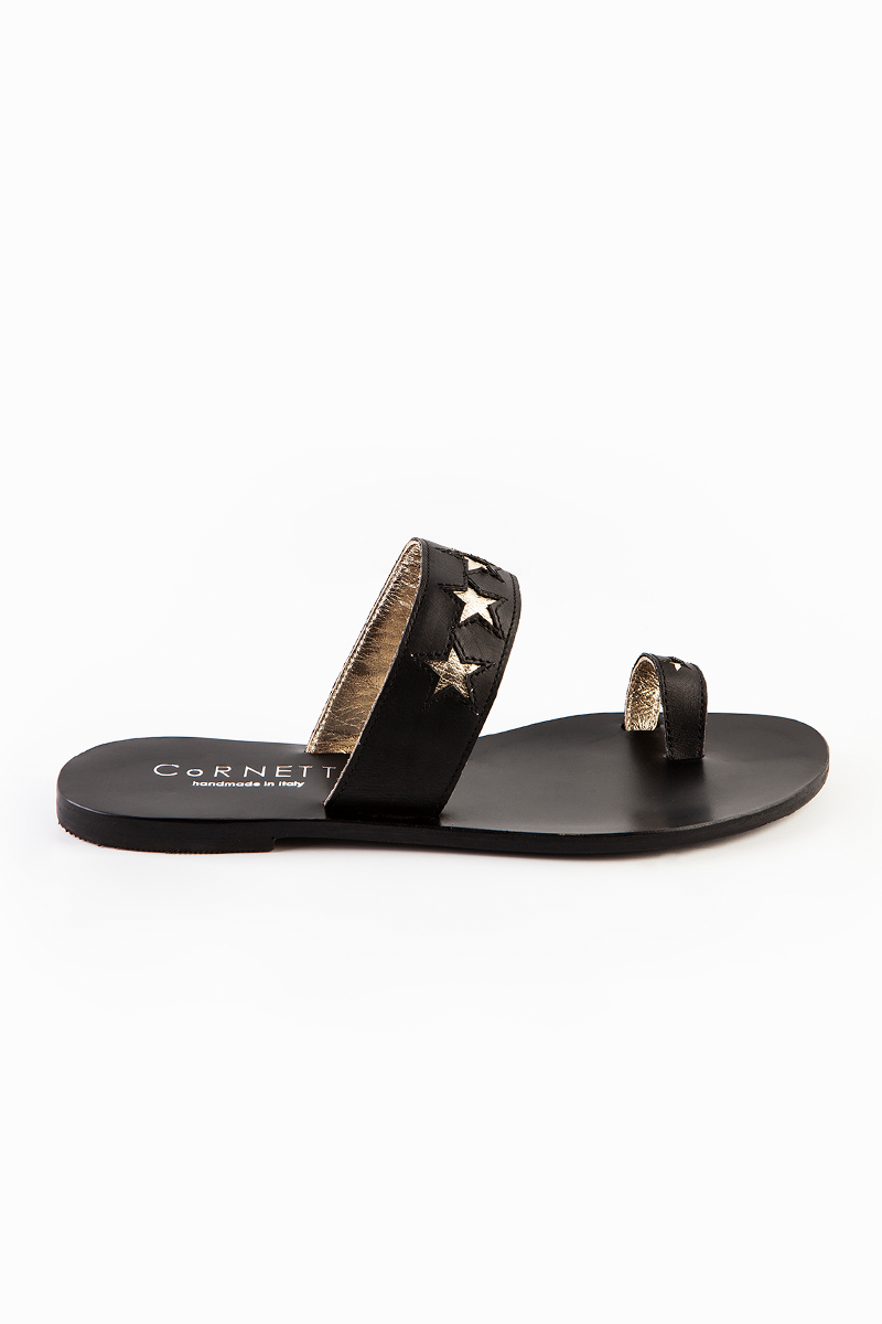 Stella Leather Slides in Black and Silver