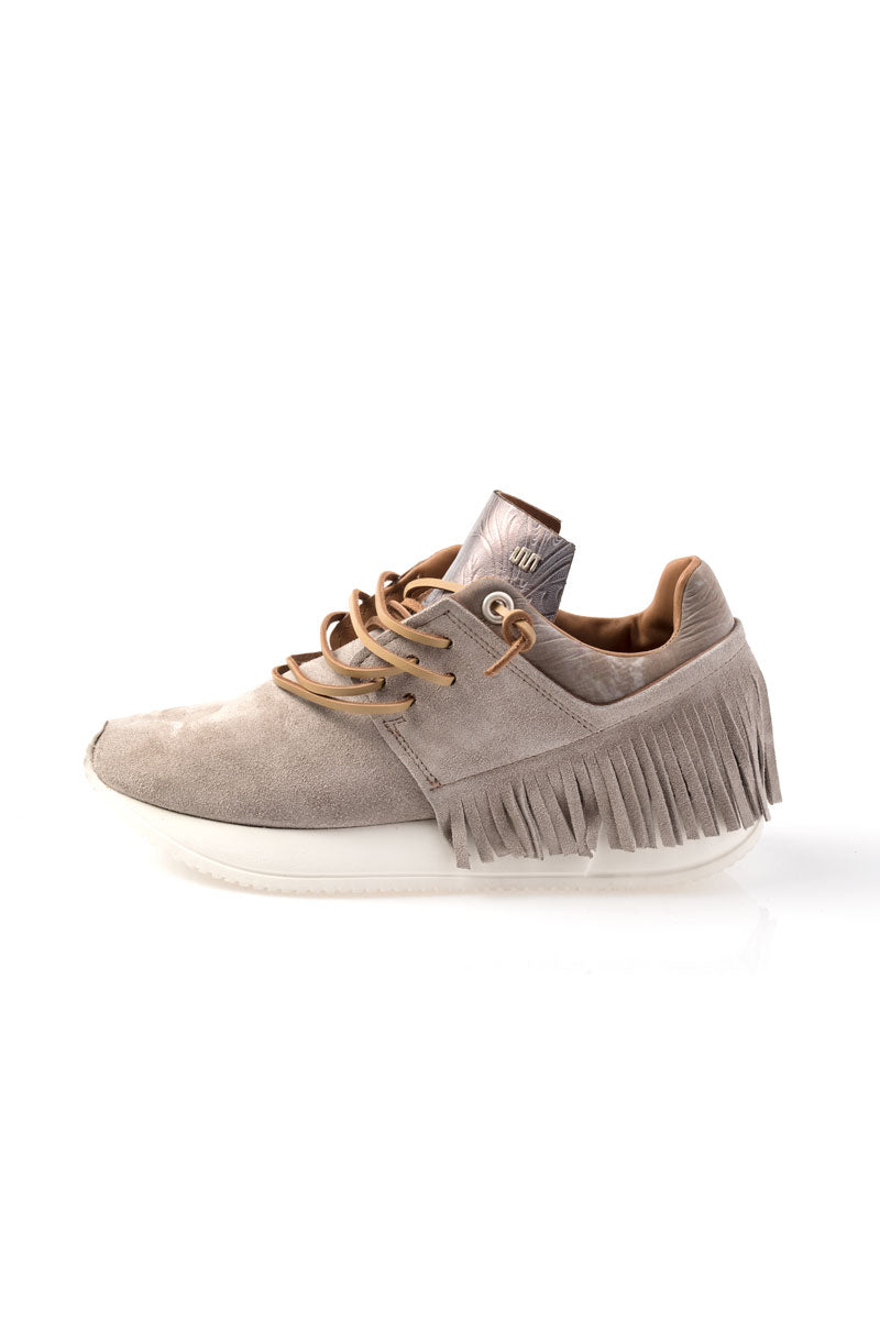 Taupe Suede Fringe Sneaker in Sabina