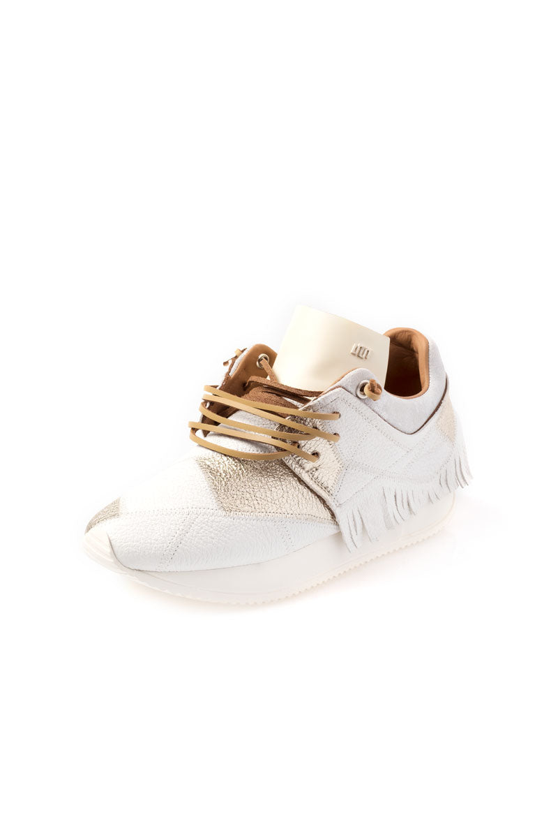 White Metallic Gold Fringe Sneaker in Ottico