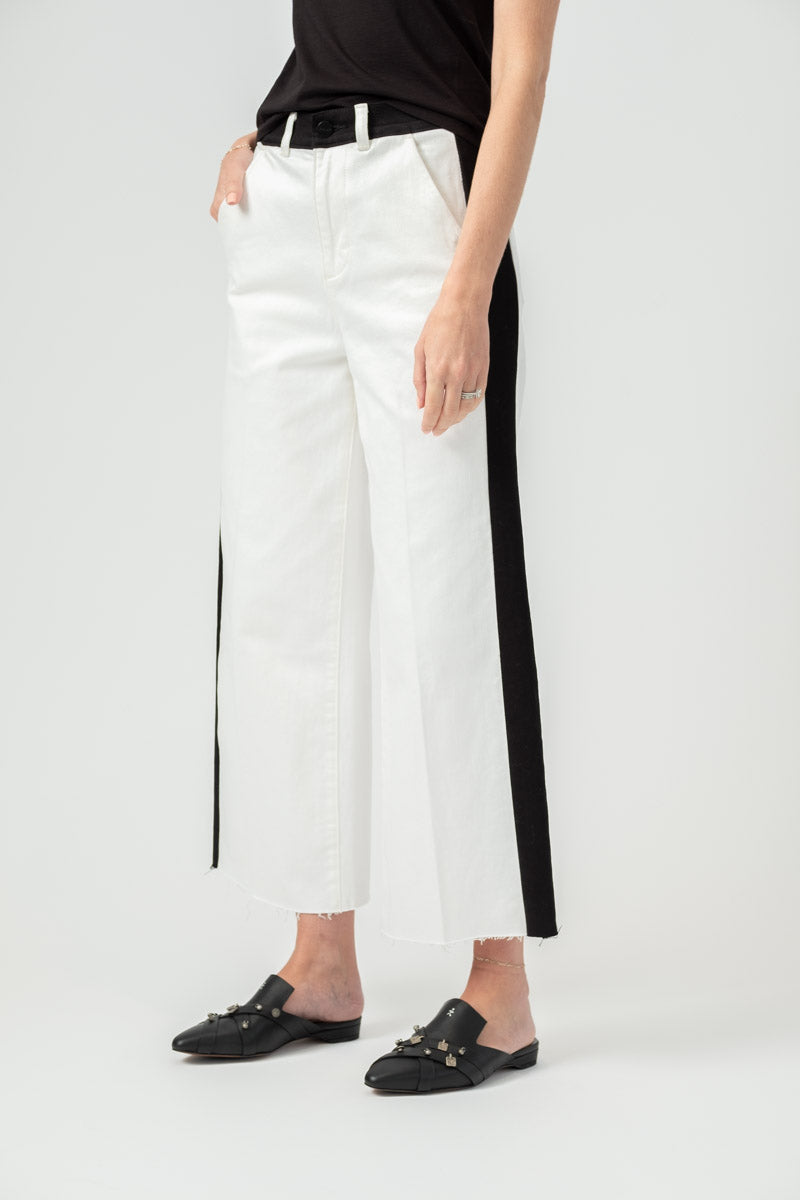 Block Ali Wide Crop Raw Edge Jean in Off White