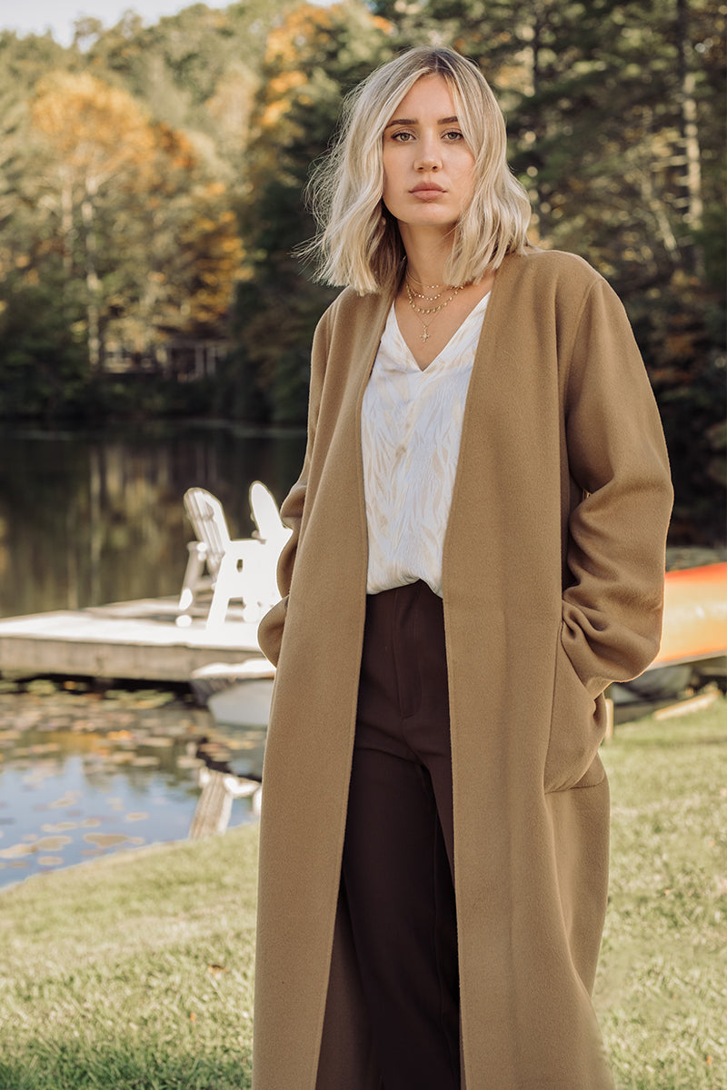 Double Faced Bell Coat in Camel