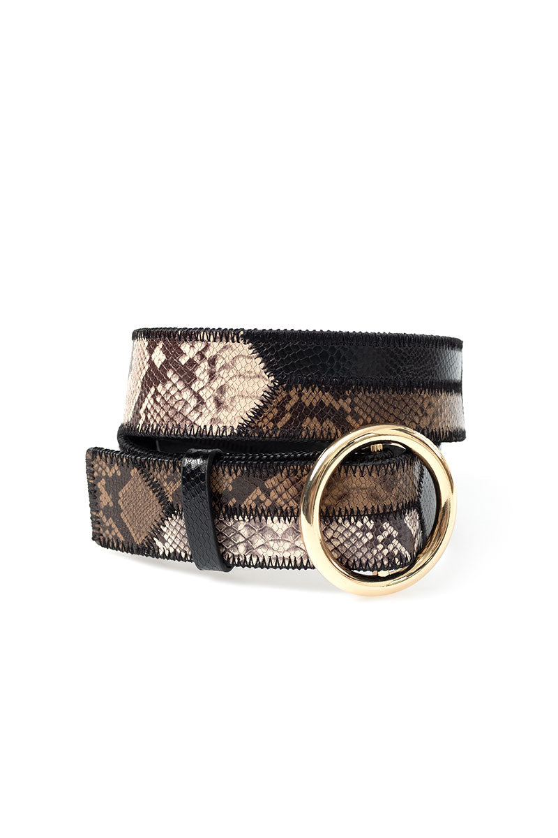 O Ring Patchwork Belt in Chocolate Multi