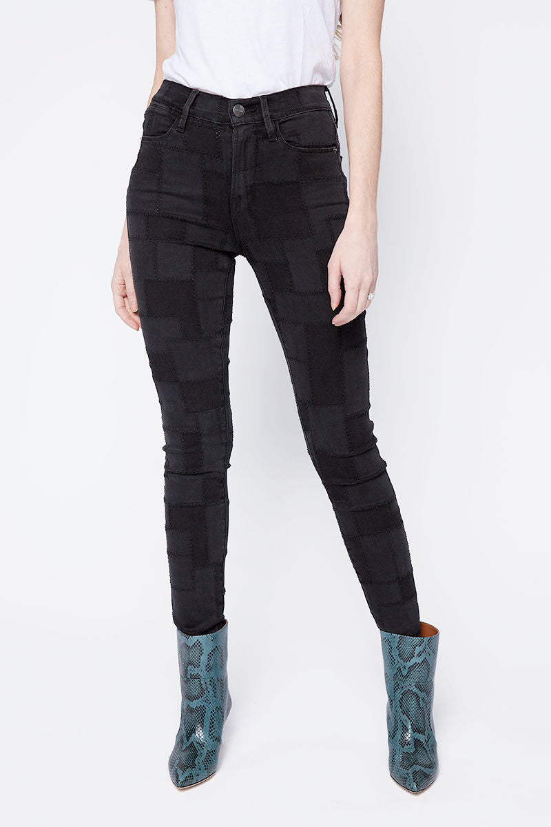 Le High Skinny Laser Patchwork in Noir Multi