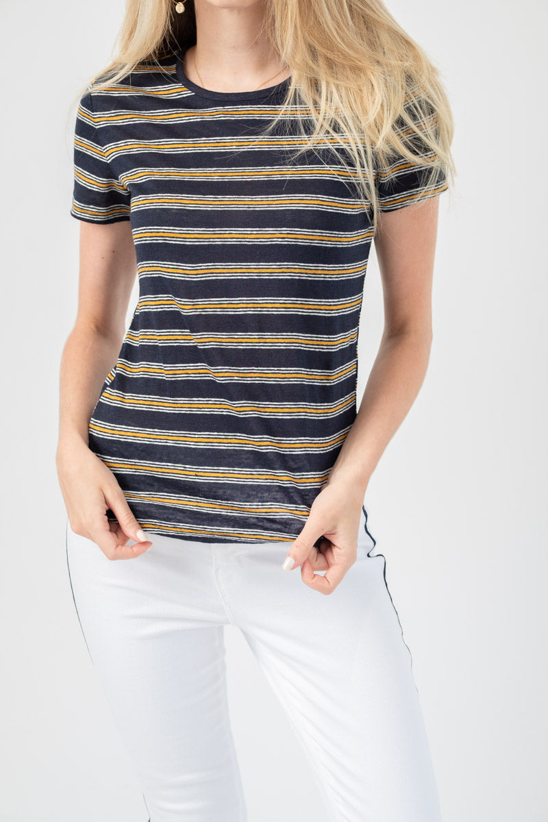 True Stripe Tee in Navy Multi