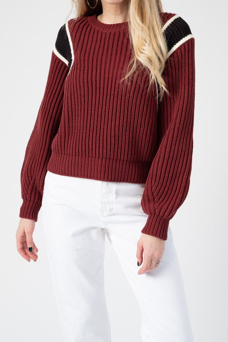 Crop Balloon Crewneck Sweater in Calvary Red