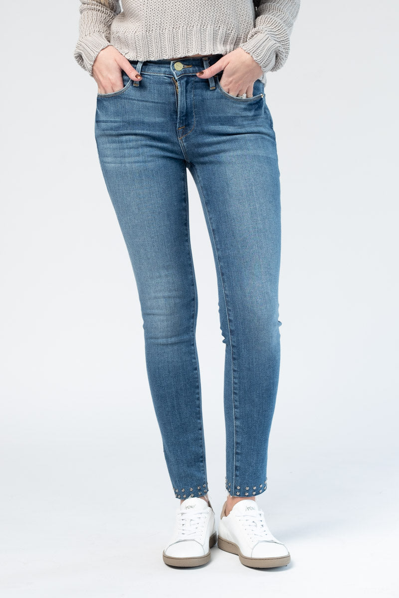 Le High Skinny Raw Slit Studs in Hazelwood