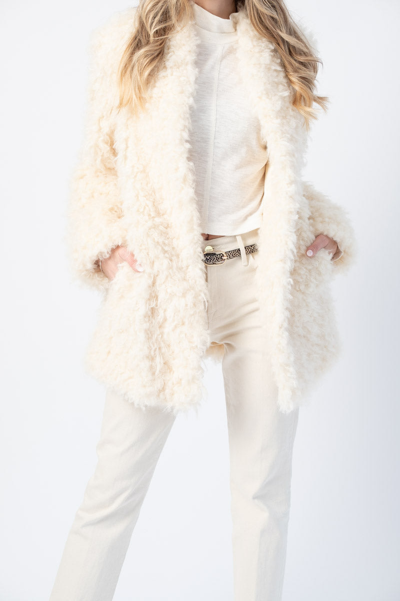 Faux Mongolian Coat in Off White