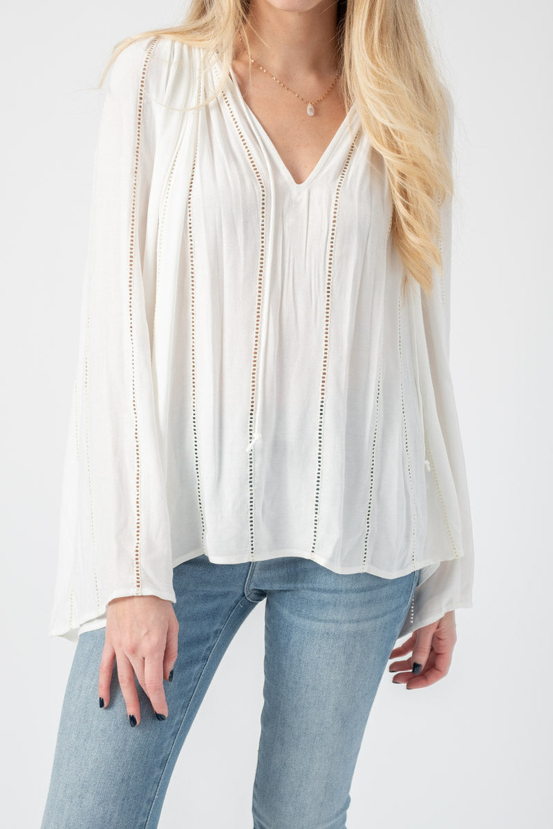 Lattice Peasant Top in Off White