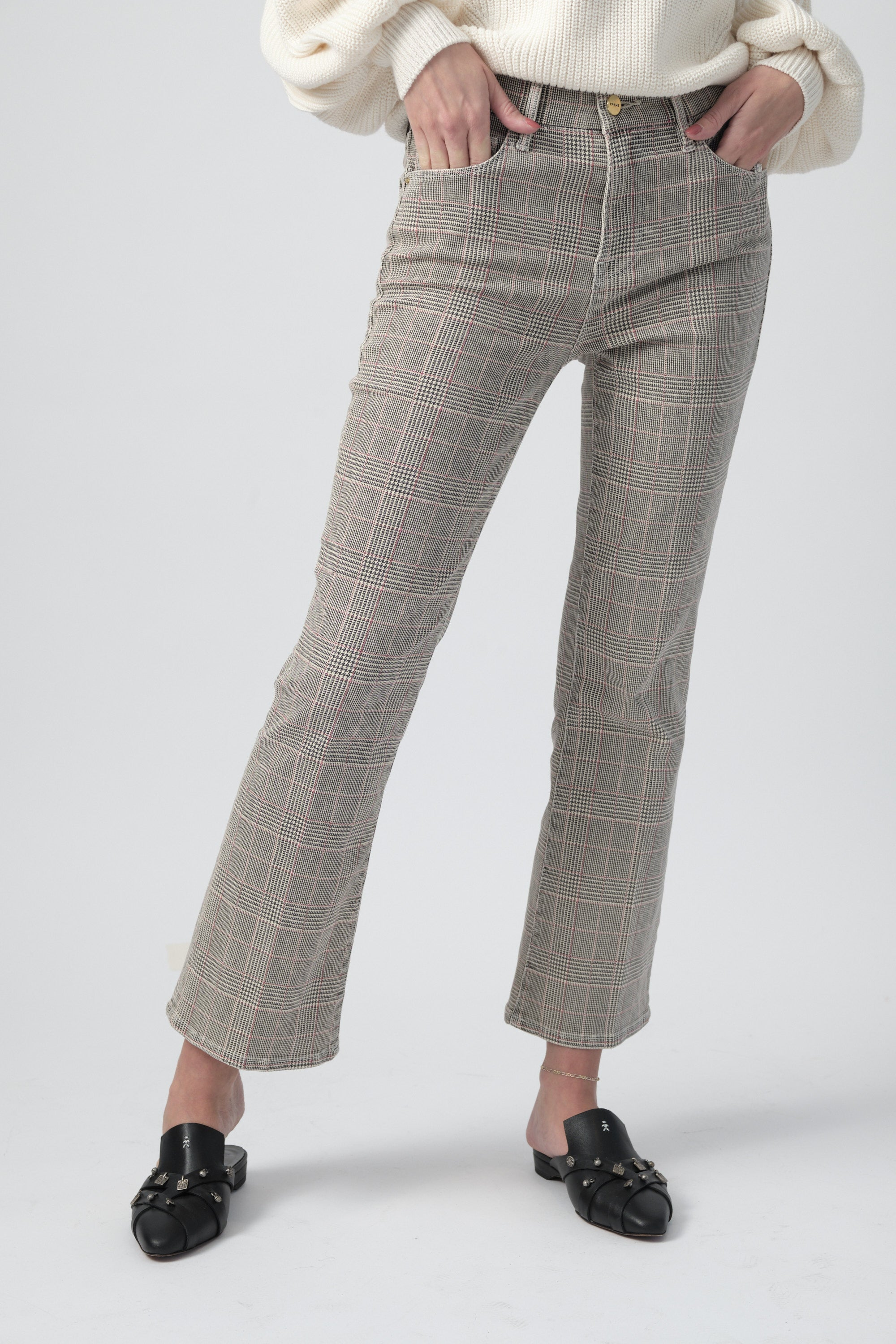 Le Cropped Mini Boot Pant in Washed Plaid